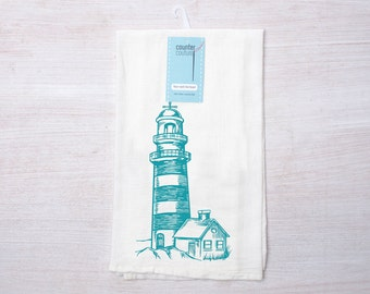 Lighthouse Kitchen Tea Towel - Flour Sack Kitchen Towel - Wedding Shower Gift - Nautical Theme - Absorbent Hand Towel