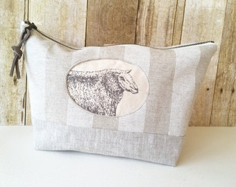 Striped Linen Project Bag, Toolbag, Sheep Print