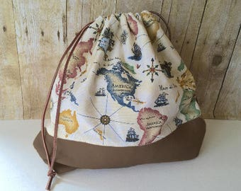 Knitting Project Bag, Large Drawstring, Antique Map Print, Leather Trim