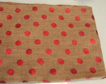 Burlap Table Runner With Metallic Red Dots