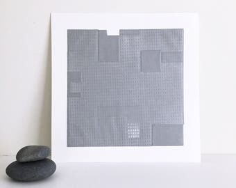 "Fine Art Etching . Minimalist. SilverPrint: ""Intersection 7""  Size 14"""" x 14"". unframed"