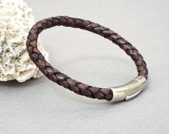 Leather Bracelet for Men, Braided Bracelet, Husband Gift, Men's Jewelry, Gift for Him