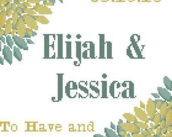 Peony Wedding Cross Stitch Pattern/Peony Cross Stitch Pattern/Modern Wedding Cross Stitch Pattern/Modern Peonies Cross Stitch Pattern/PDF