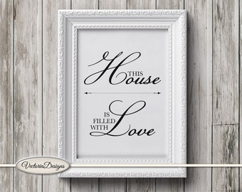 House Love Print Creativity Printable wall art DIY digital print instant download digital collage sheet - VDWAQU1610