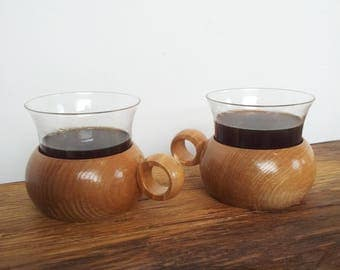 Coffee Cups Wood and glass  x 2 1970s