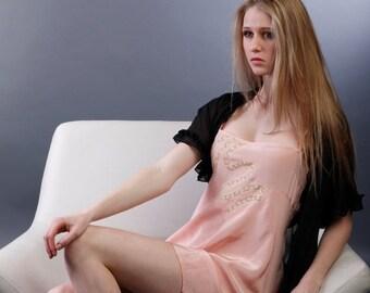 ON SALE Silk Nightie Dress Chemise Lingerie Lace / Pink Cream Art Nouveau Crepe Vintage / Large - TILLIE Moonshine Chemise