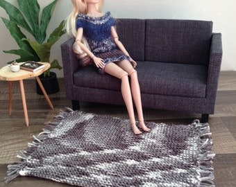 Handknit Large Fringed in Grey and Ivory for sixth scale Diorama or Dollhouse