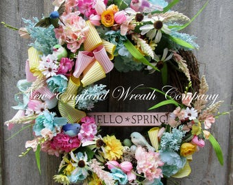 Spring Wreath, Easter Wreath, Spring Floral Wreath, Bird Wreath, Country French Wreath, Designer Cottage Wreath, Spring Garden Wreath