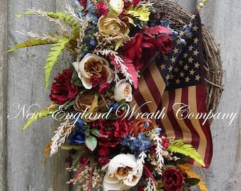 Patriotic Wreath, Americana Wreath, Fourth of July Wreath, Elegant Patriotic, Williamsburg, Floral Wreath, Designer Wreath, Tea Stained Flag