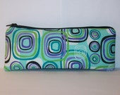 "Pipe Pouch, Teal Squares, Pipe Bag, Glass Pipes, Pipe Case, Padded Bag, Zipper Bag, Padded Pipe Pouch, Cute Bag, Vape Pen Case - 7.5"" LARGE"