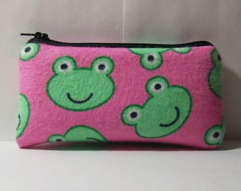 """Pipe Pouch, Glass Pipe Case, Frogs Bag, Pipe Bag, Padded Pipe Pouch, Cute Bag, Stoner, 420, Weed Bag, Frog Gift, Zipper Bag - 5.5"""" SMALL"""
