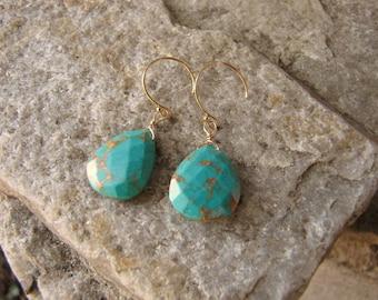 Turquoise colored earrings Sea Sediment Jasper jewelry 14 k gold filled wire wrapped briolette teardrop