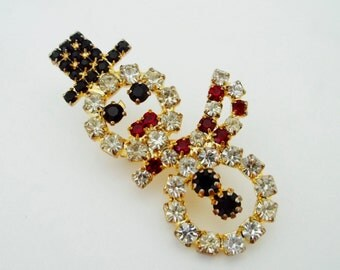 Vintage Rhinestone Snowman Pin Brooch Holiday Jewelry