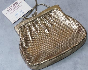 Vintage Original Gold  Retro GloMesh Evening Bag