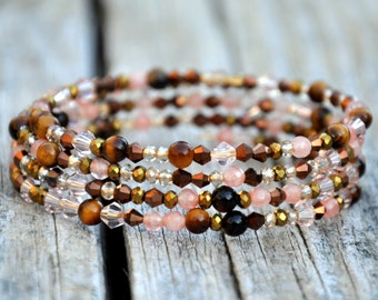 Tiger's Eye & Sparkle 4 Layer Wrap Bracelet