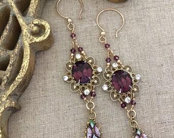 Vintage Upcycled Earrings, Upcycled Rhinestone Earrings, Purple Rhinestone Dangle Earrings, Long Dangle Earrings, Upcycled Jewelry Gift