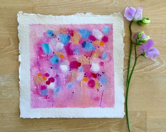 flower painting, pink painting, small painting, original art, mother's day gift, sweet peas
