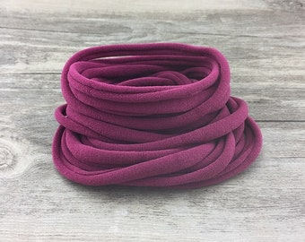 Nylon Headbands, Burgundy Nylon baby headbands, wholesale nylon headbands, Soft nylon Headbands, leaves no mark, DIY Headband supplies, bulk