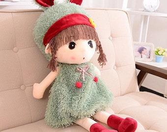 Green Colour Stuffed Girl Dolls- 45cm