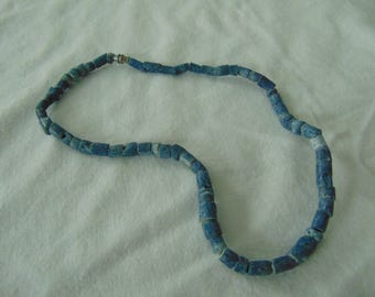 vintage blue coral bead necklace mint unused