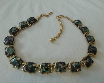 vintage coro black confetti lucite squares necklace gold plated signed