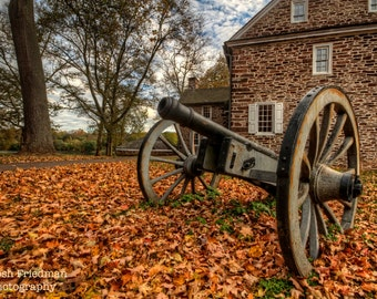 Historic Cannon at Washington Crossing State Park Landscape Photography Autumn Fall Foliage Revolutionary War Colonial America Photograph