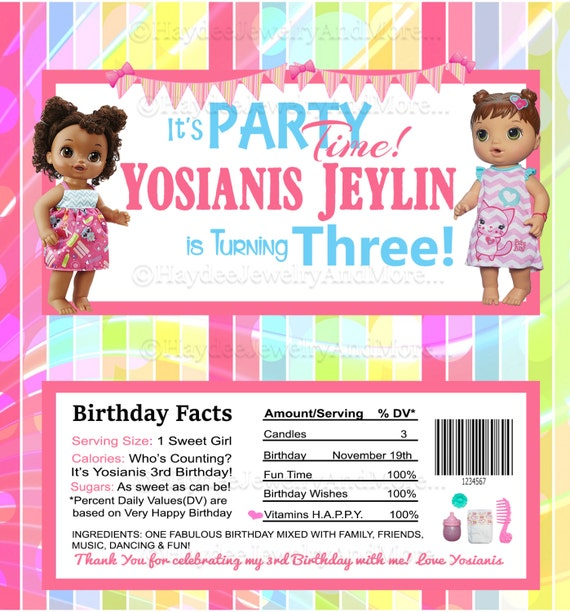 Baby Alive Birthday Theme Hershey Bar Wrappers Birthday