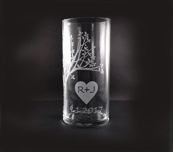 Personalized Wedding Unity Ceremony Candle Vase - Rustic Sweetheart Tree Vase with Floating Candle - Personalized Vase - Unity Candle Set