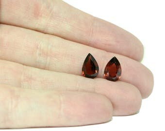 Garnet Faceted Stones, Matched Pair