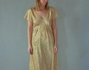 SALE Gold Satin Lace  Dress Vintage 80's evening dress godess dress