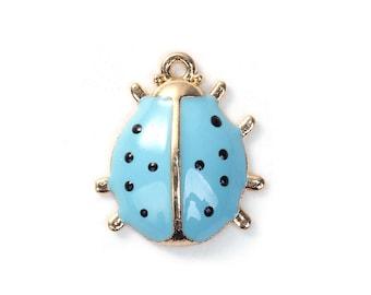 Blue Enamel Ladybug Charm, 17x15mm, Jewelry Supplies