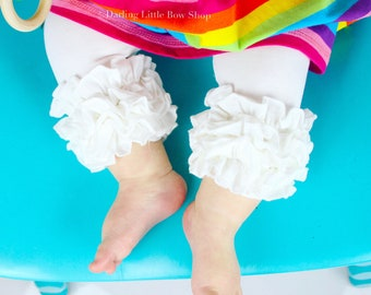Ruffle Capris - bright white knit ruffle capris, white icings sizes 6m to girls 8 - Free Shipping