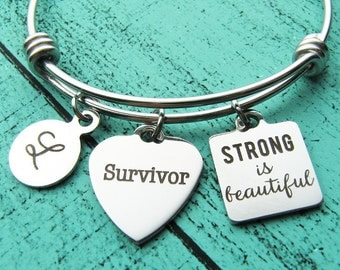 breast cancer survivor gift, strong is beautiful bracelet strength, survivor jewelry, encouragement gift, aa recovery gift anniversary sober