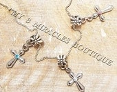 Girls Cross Necklace European Style Charm BLUE ~ CLEAR ~ PINK Chain Crystal Diamond Religious Gift Child Teen 1st First Communion Jesus Gift