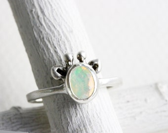 Opal Giraffe Ring,Ethiopian Opal and Sterling Silver, Giraffe Fine Jewelry
