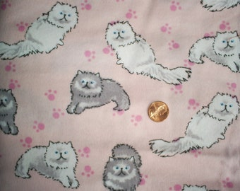 2 7/8 yards of Cats on Pink Flannel.