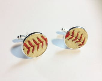 Played game ball MLB baseball Oakland Athletics A's accessory sports fanatic hand crafted cuff links