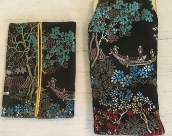 Vintage Asian Print Eyeglass Case & Matching Tissue Holder LIKE NEW