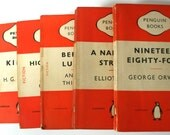 Set of 25 Vintage Penguin Paperback Books: Mainly orange fiction but other colours may be included