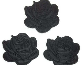 3pcs Black Rose Tattoo Embroidered Applique Patches. Iron On or Sew On Badges for T-shirts, Jeans, Shirts. Gothic Rose Black 7.5cm wide