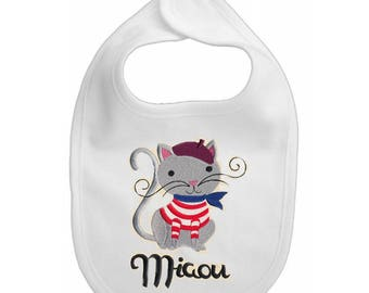 French Cool Cat embroidered baby bib