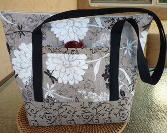 Handcrafted Large Fabric Shoulder Bag/Handbag/Purse/Tote Bag with Zipper Close