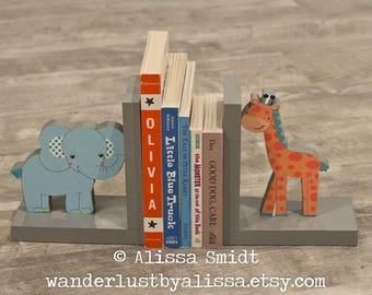 Yoo Hoo elephant and giraffe bookends, Jungle Themed Custom Made Wooden Bookends (Yoo Hoo, grey, teal, aqua, wood bookends)
