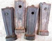 4 Old Rusty Cast Iron Stove Feet