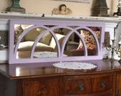 Beautiful Gothic Arched  Window Mirror - 3 Intersecting Arches - Distressed  in Lilac