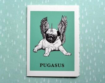 "Pugasus Greeting Card, Pug + Pegasus Hybrid Animal, 5x7"" Blank Card, Portland OR, Funny Pug Gift"