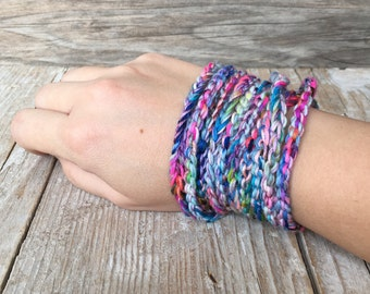 Multi color wrap bracelet necklace - crochet wrap bracelet / boho bracelet - colorful