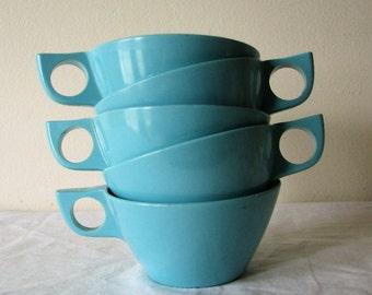 5 Vintage Melamine Texas Ware Aqua Coffee Cups Melmac