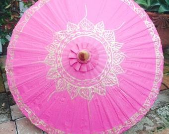 Pink lotus oarasol