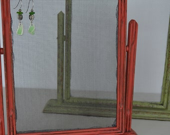 Red or Green Vintage Tabletop Photo Frame Earring Organizer Holder
